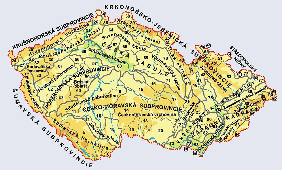 Mapa pohoří a nížin v ČR, geomorfologické členění České republiky