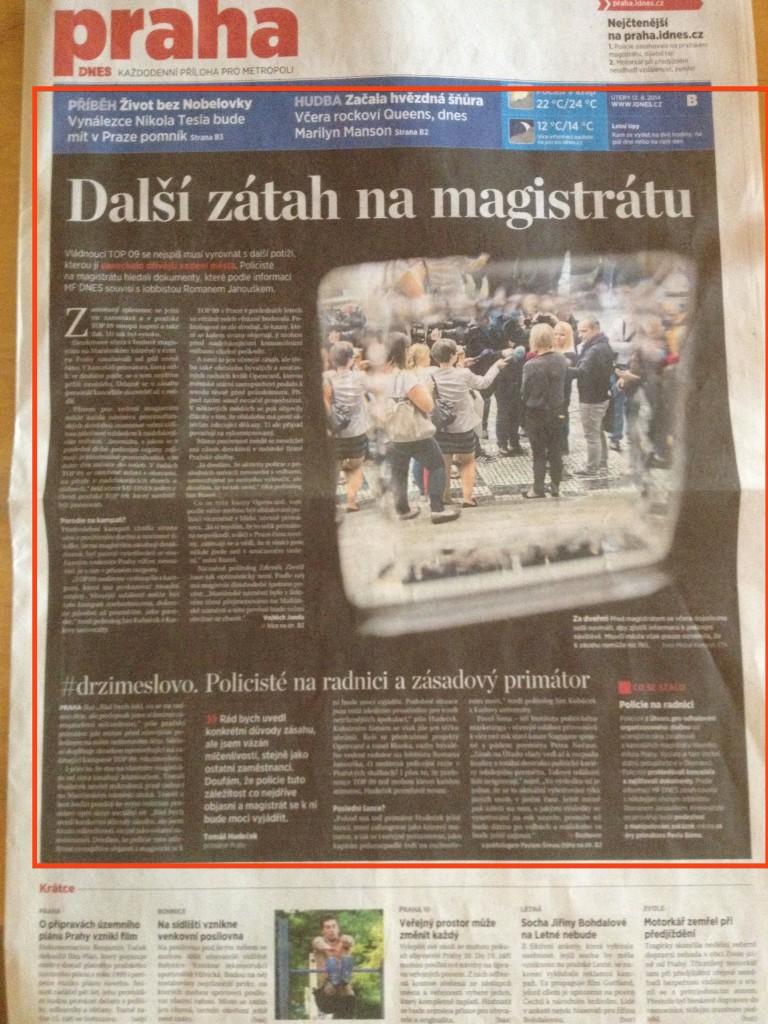 Titulka pražské přílohy